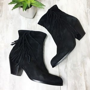 Sam Edelman Black Suede Fringe Booties